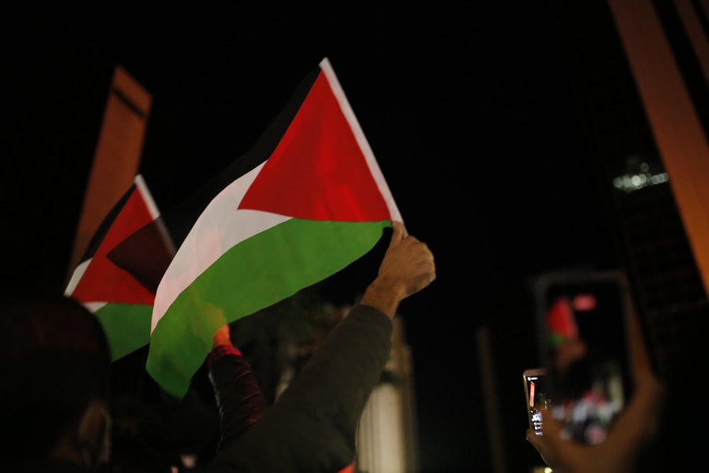 person holding green white and red flag