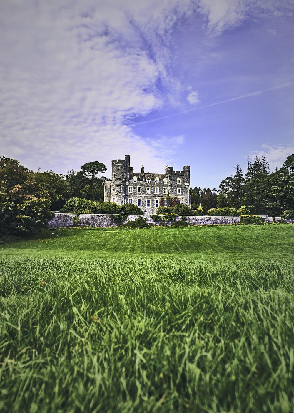 green grass field near castle under blue sky during daytime