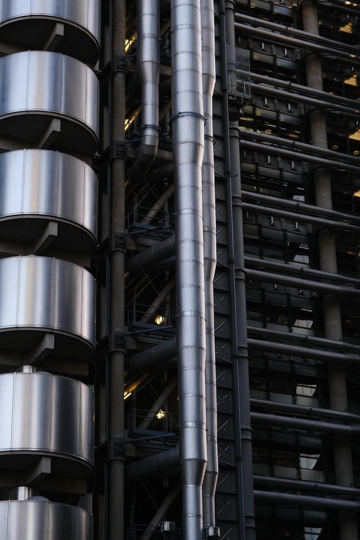gray metal frame in building