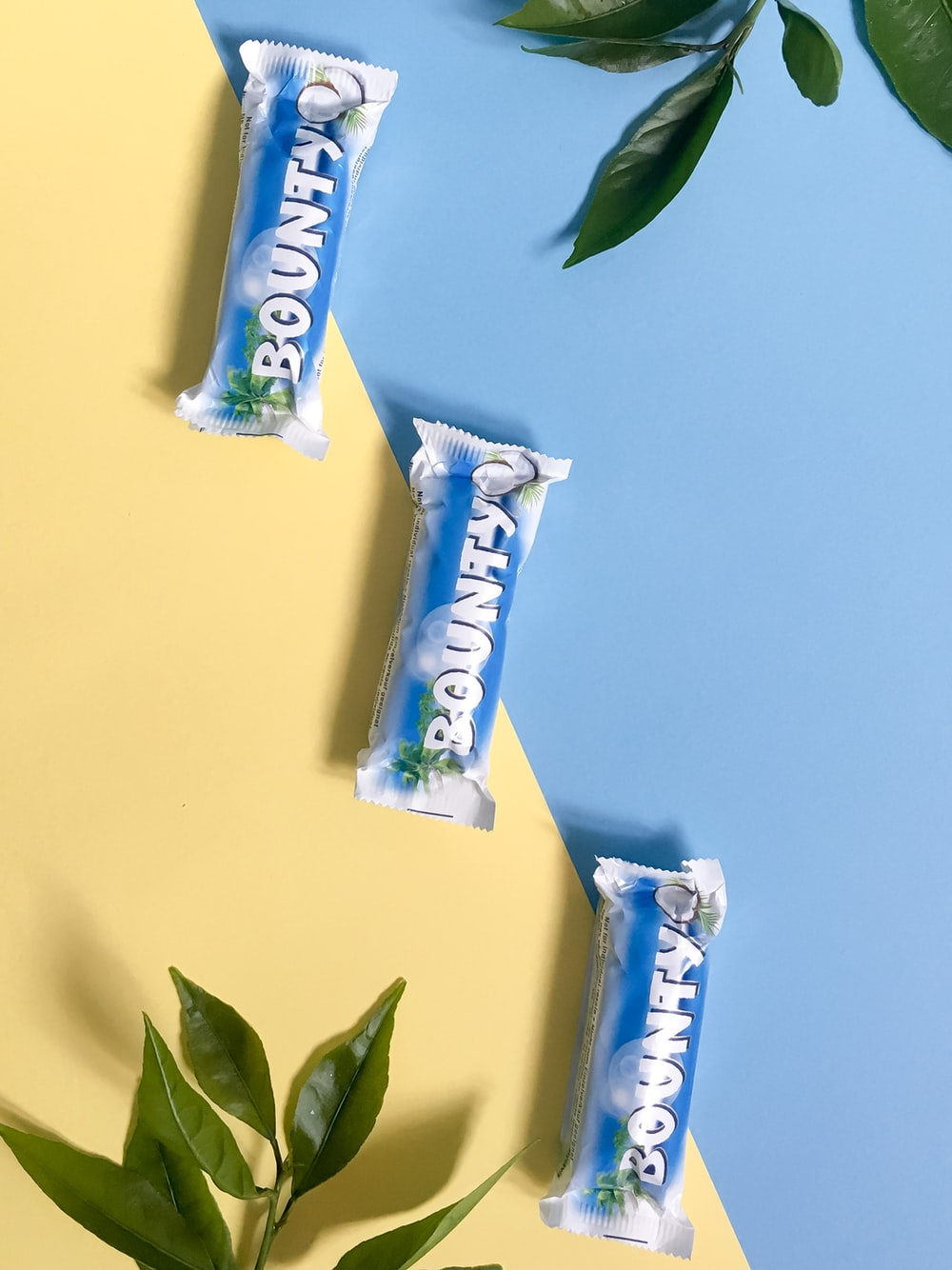 white and blue candy wrapper