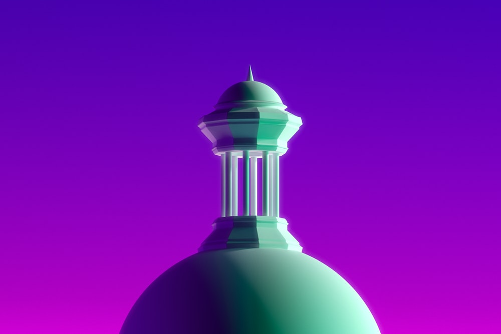 purple and white tower with blue background