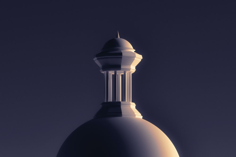 white and black dome building