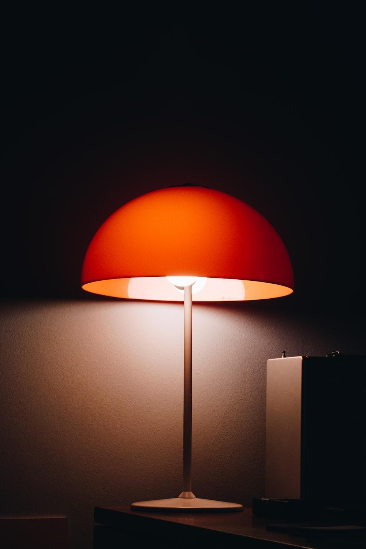 orange and black floor lamp