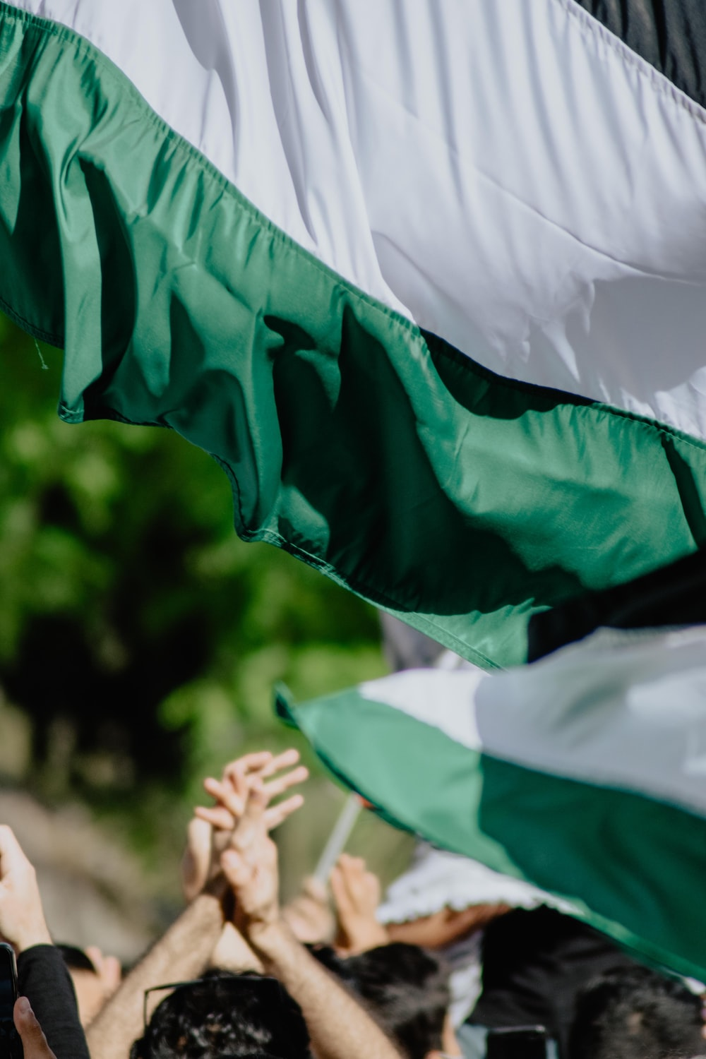 person holding green and white flag