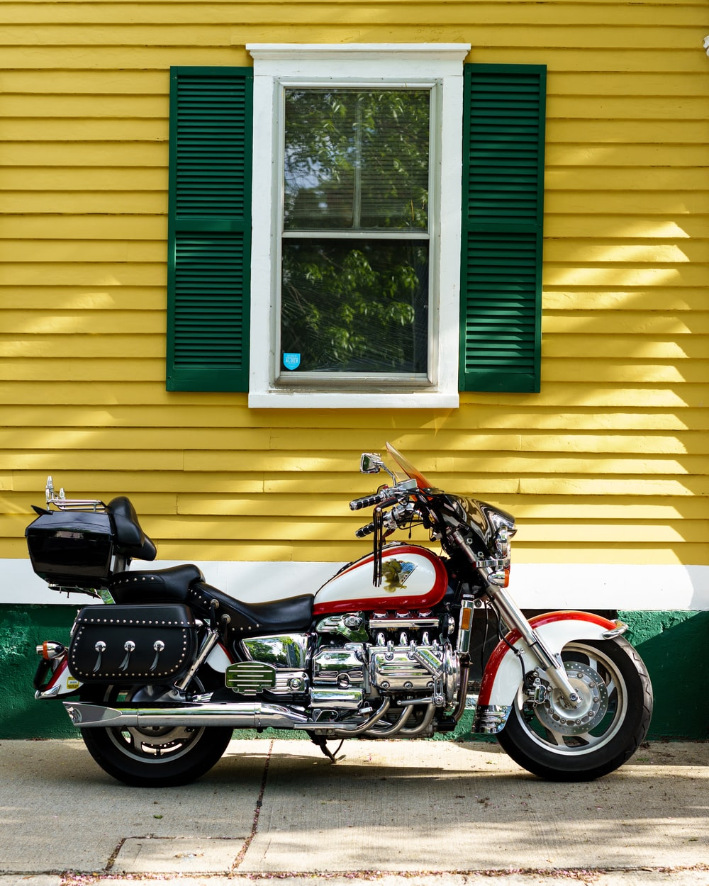 black and red cruiser motorcycle