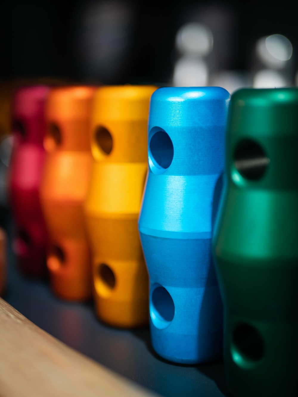 blue orange green and purple plastic cups