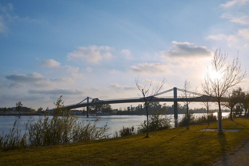 brown wooden bridge over river under blue sky during daytime