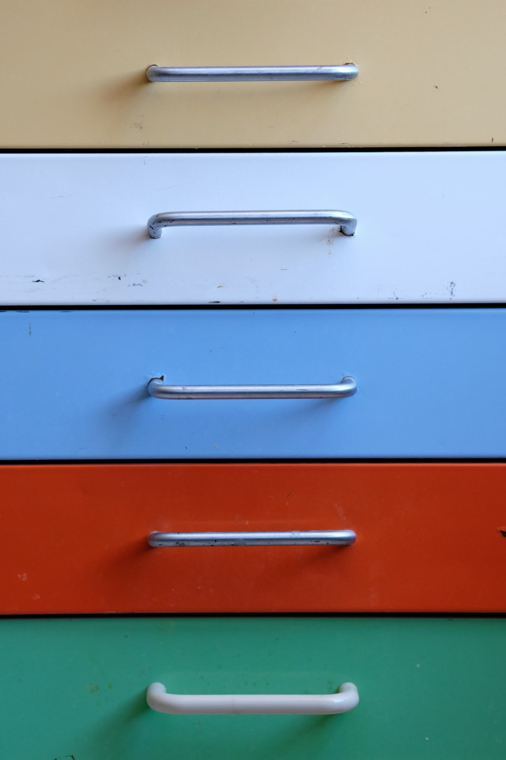 blue and white wooden drawer