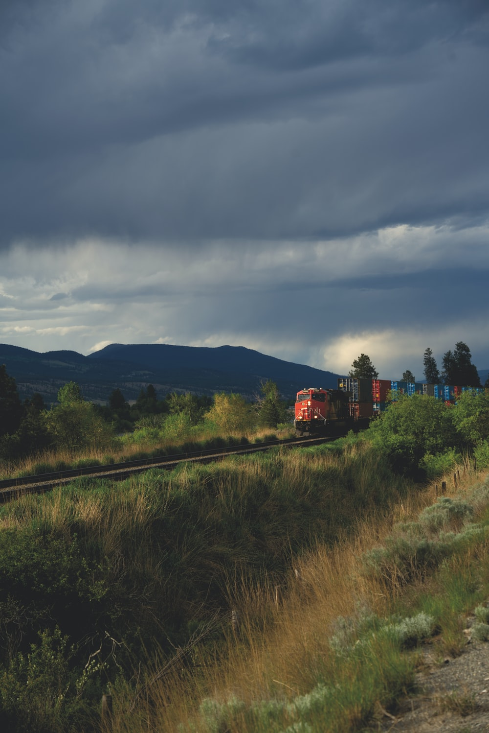 red train on rail road near green grass field under cloudy sky during daytime