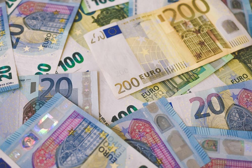 20 euro bill on white printer paper