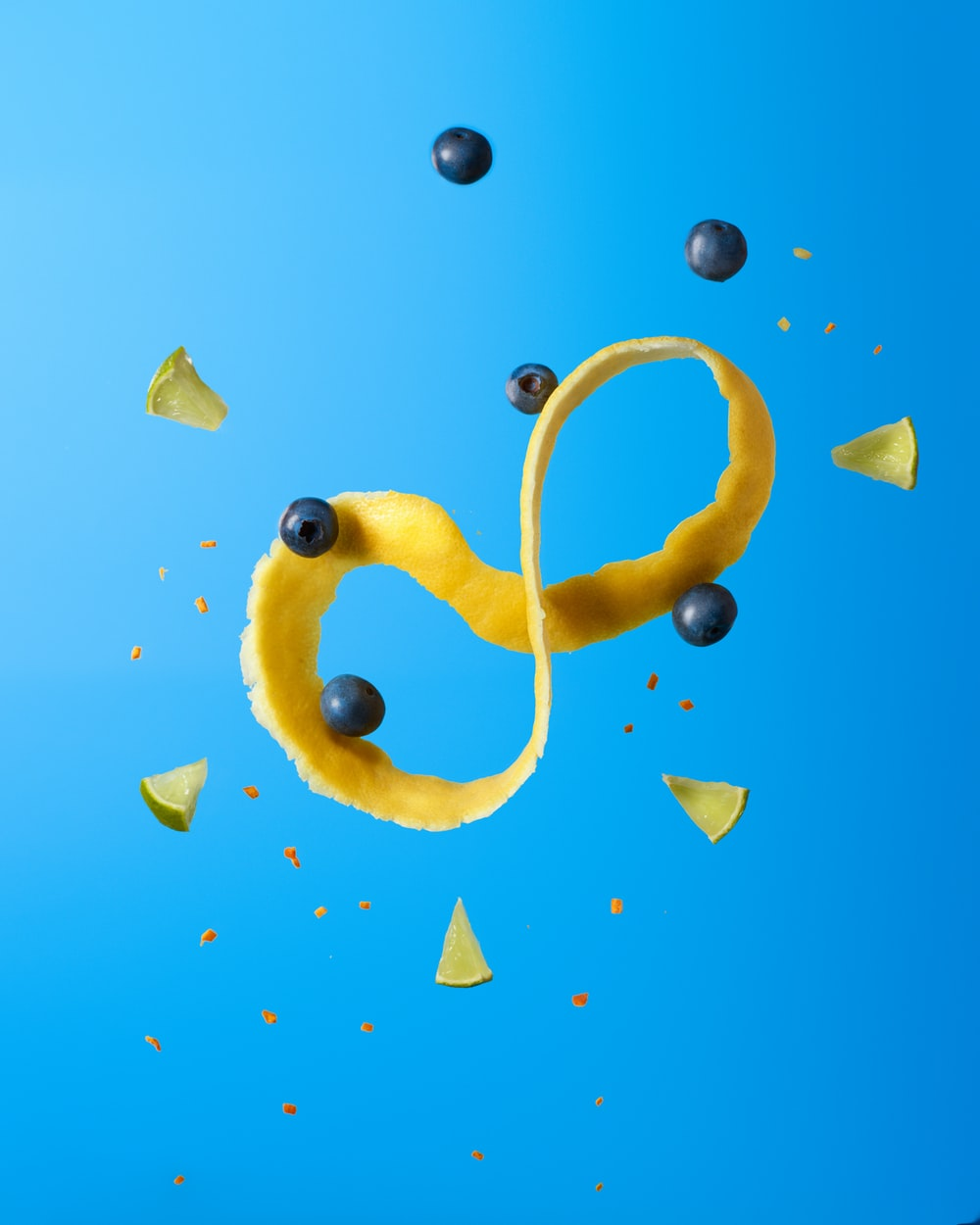 yellow heart shaped with blue background