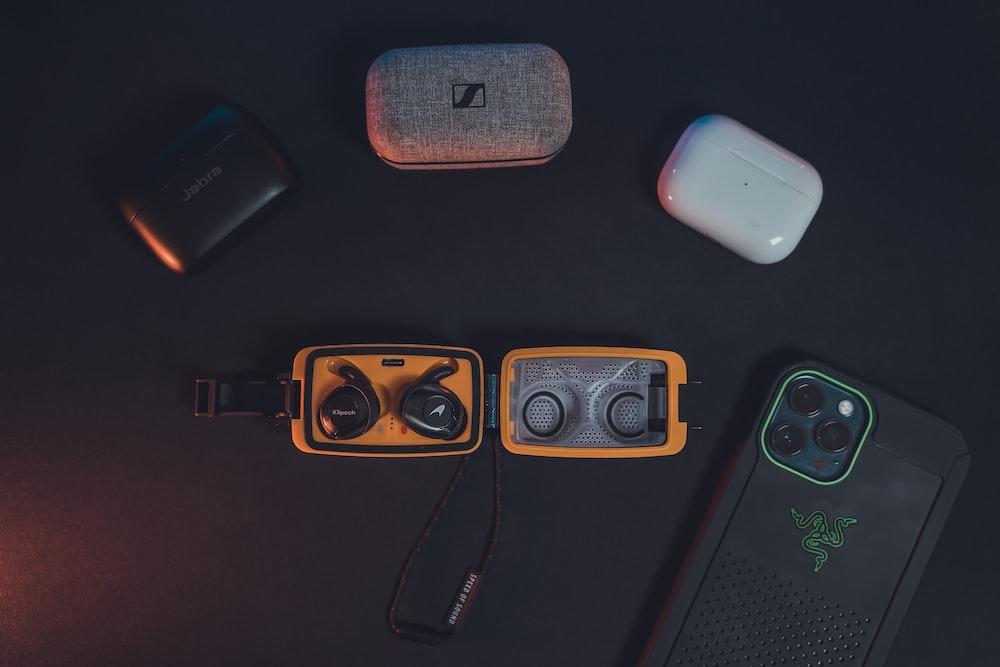 black and orange electronic device