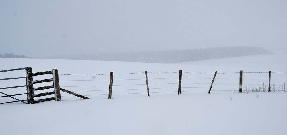 brown wooden fence on snow covered ground