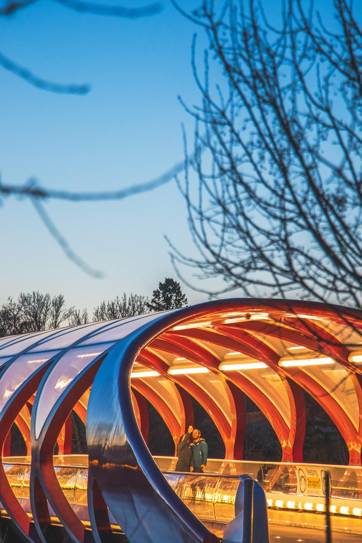 orange and blue round structure