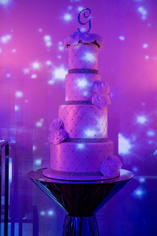 purple and white 3 layer cake