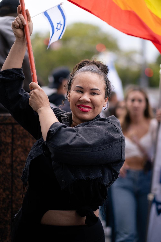 girl in black jacket smiling
