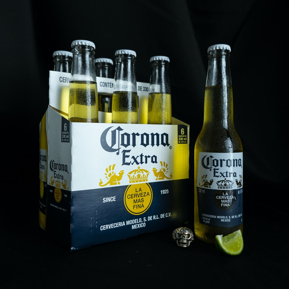 two corona extra beer bottles