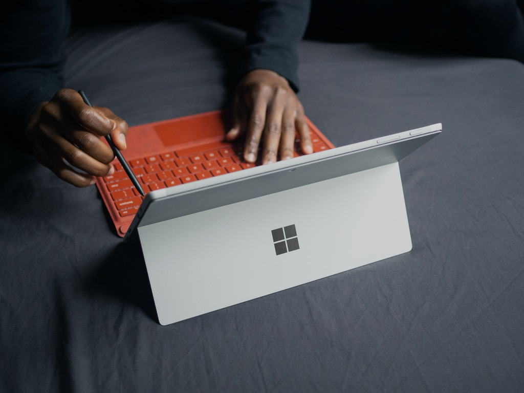 person using Surface tablet