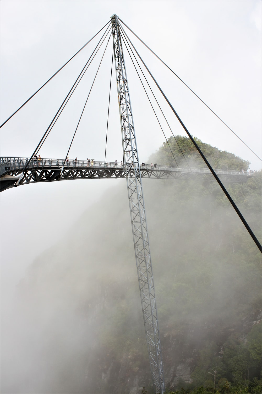gray metal bridge under white clouds