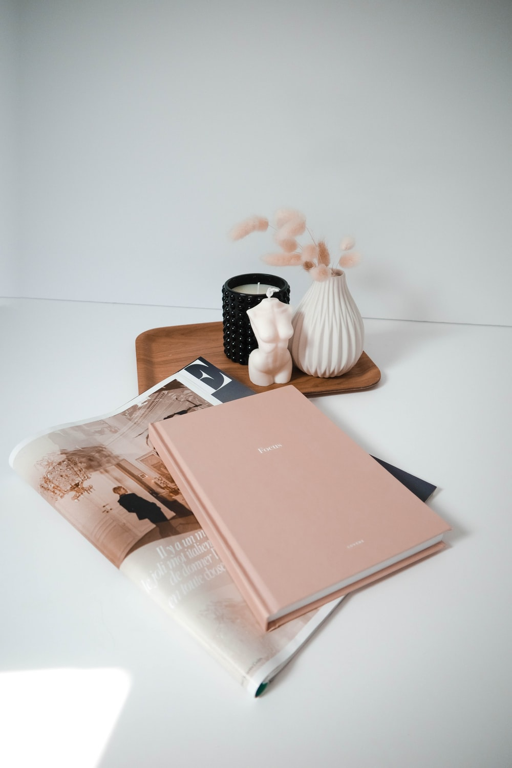 pink book on white table