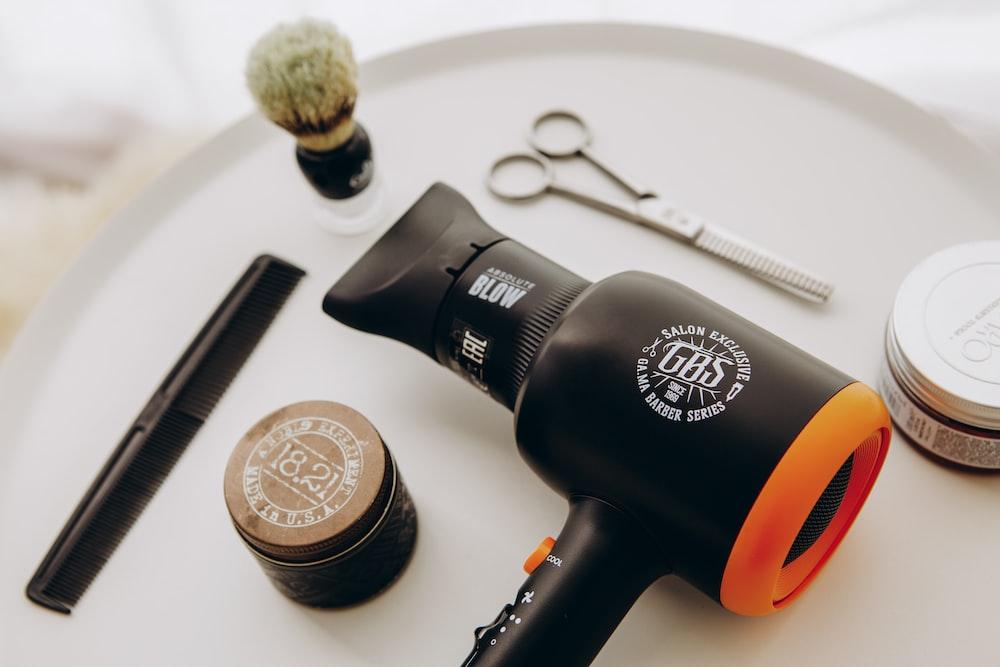black and orange hair blower
