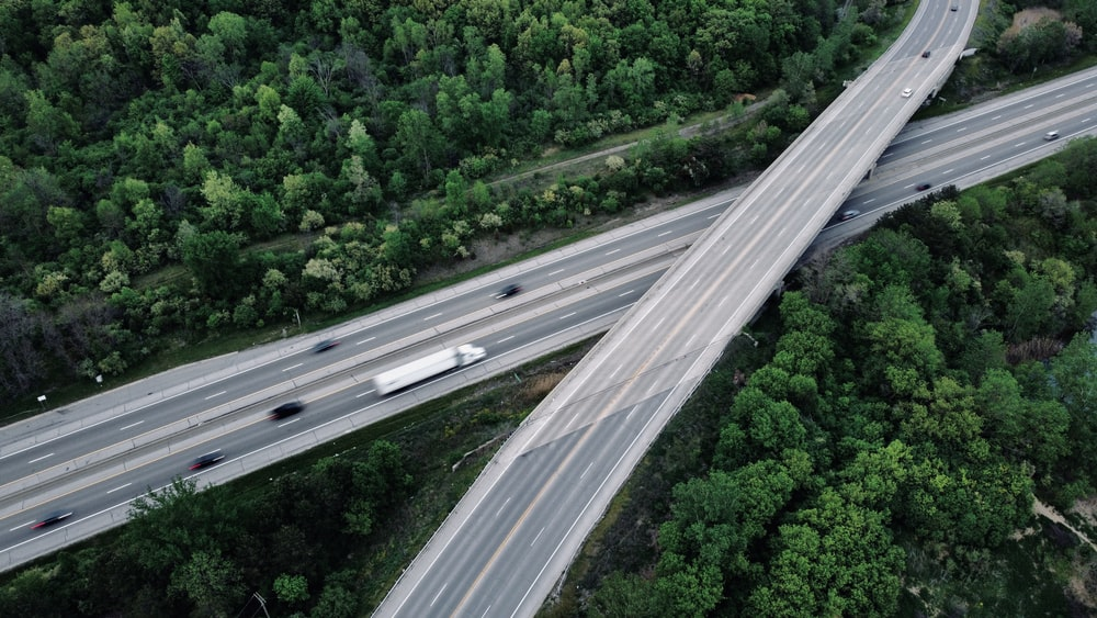 aerial view of road between green trees during daytime