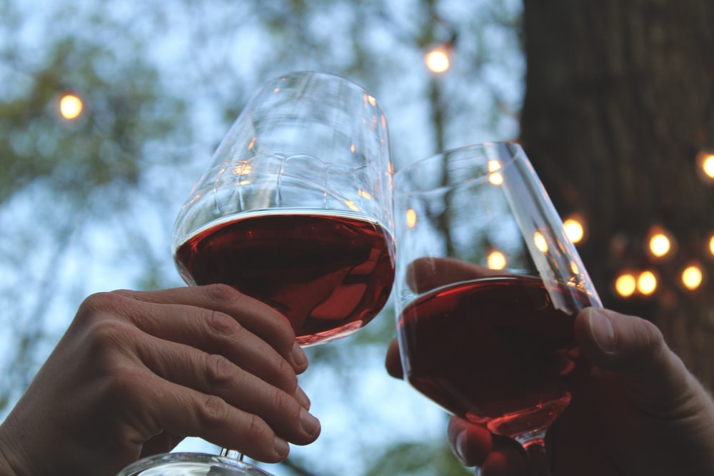 person holding clear wine glass with red wine