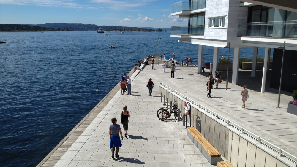 people walking on sidewalk near body of water during daytime