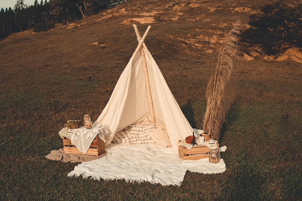 white tent on white textile