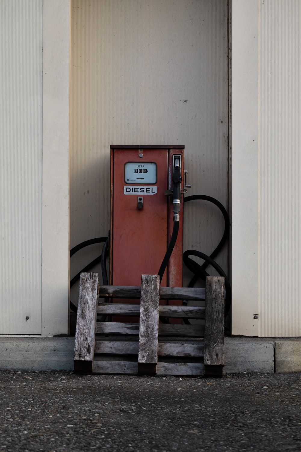 red and black gas dispenser
