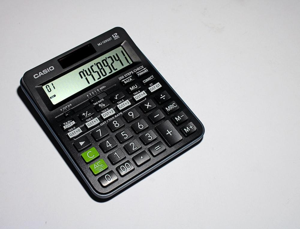 black casio calculator at 0