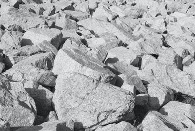 stone field, black and white
