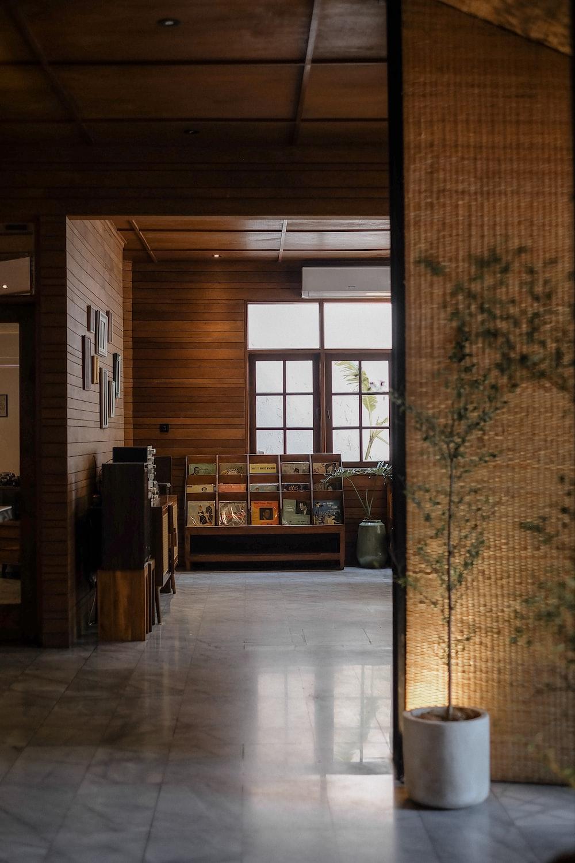 brown wooden desk near brown wooden door
