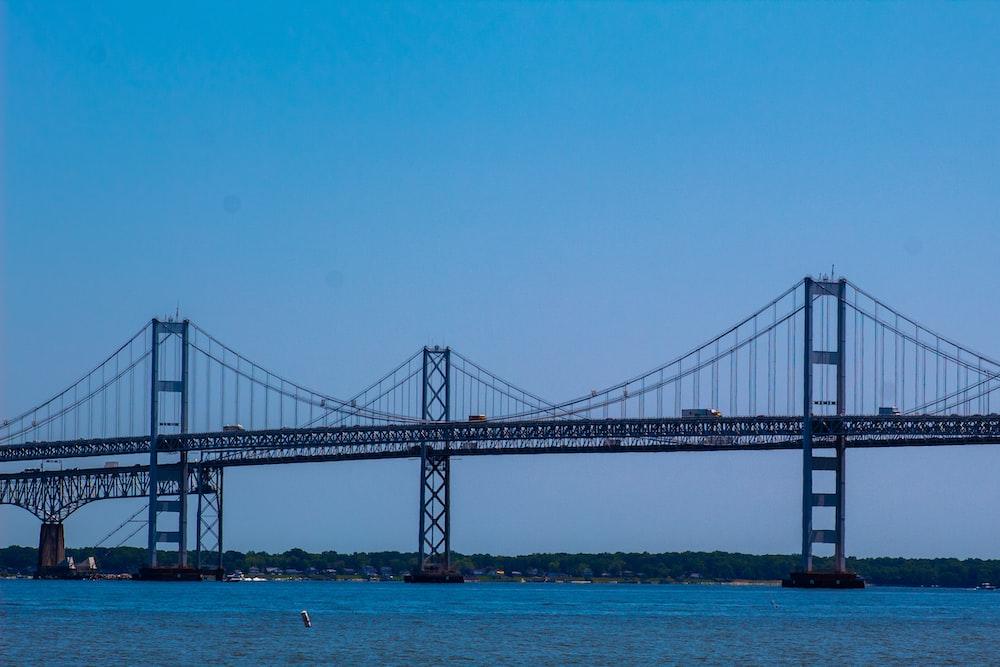 black bridge over blue sea under blue sky during daytime