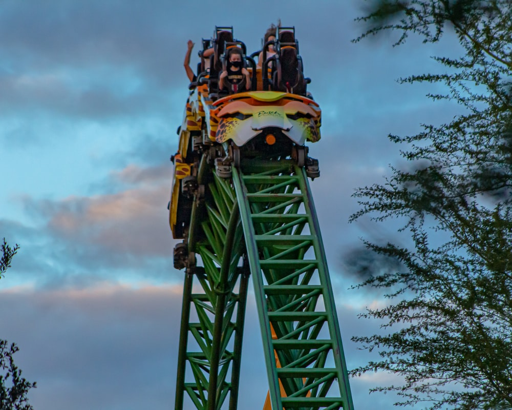 green and yellow roller coaster