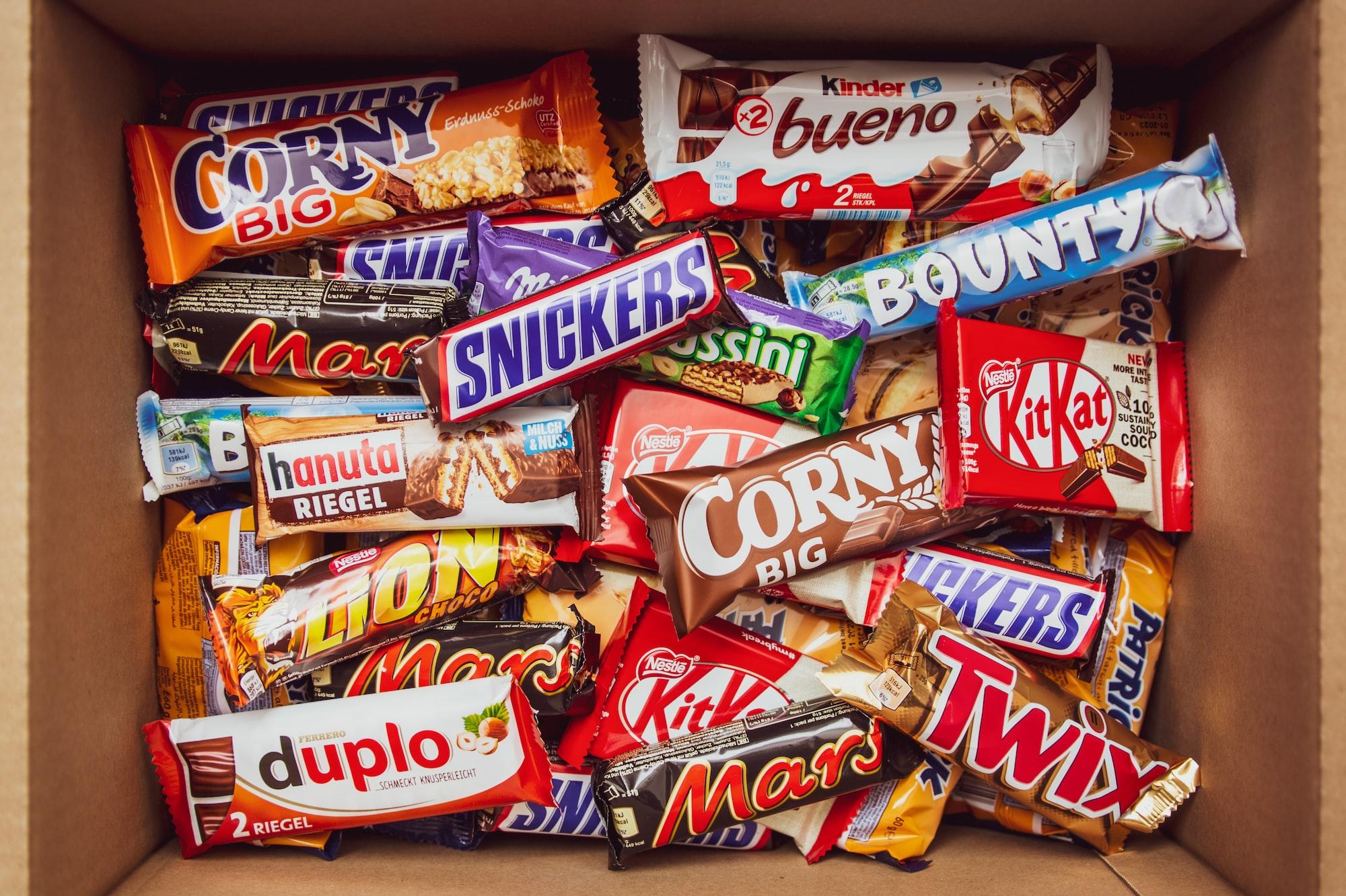 A box full of various chocolate bars