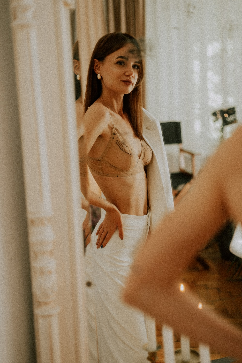 woman in white brassiere and panty