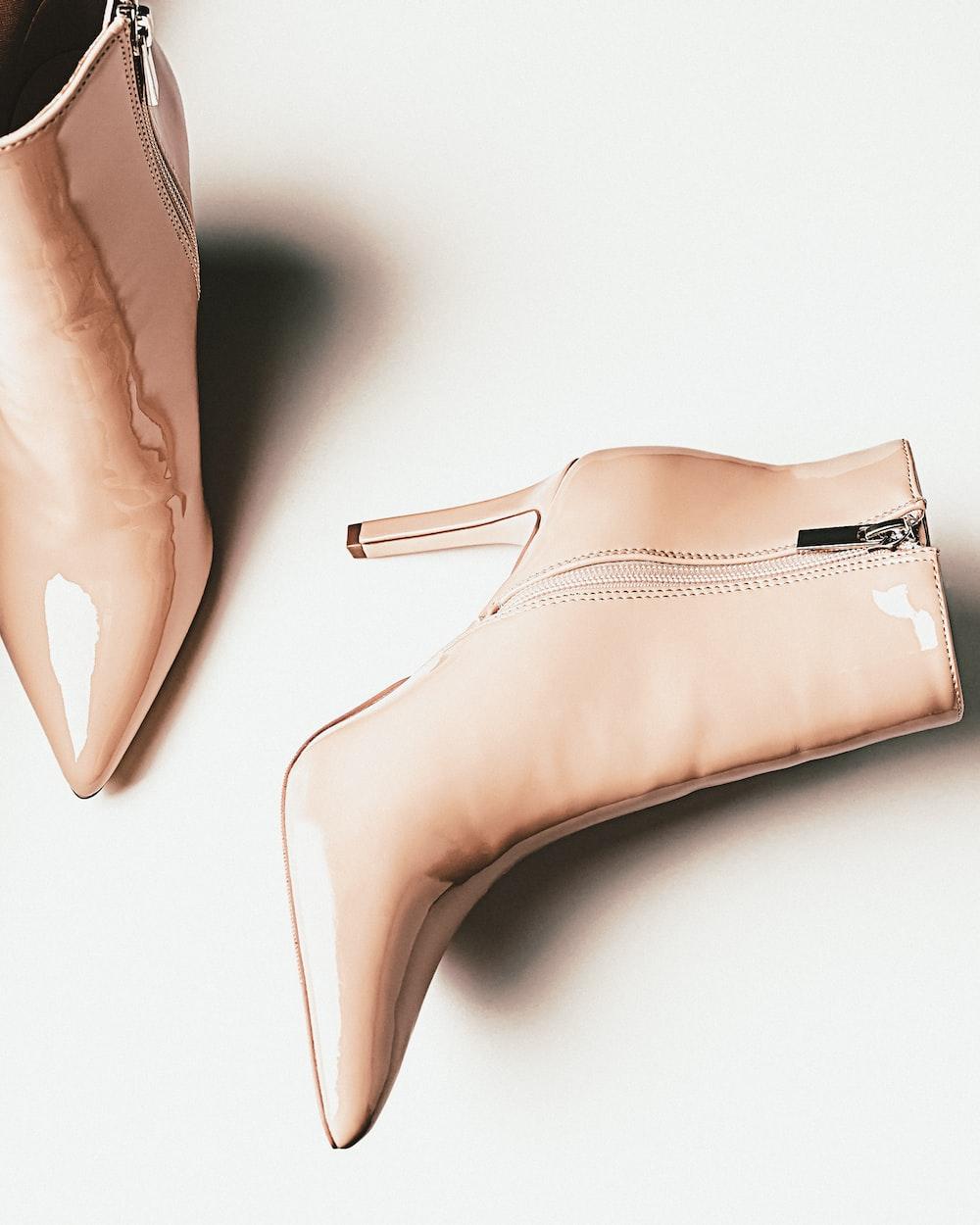 womens brown leather peep toe heeled shoes