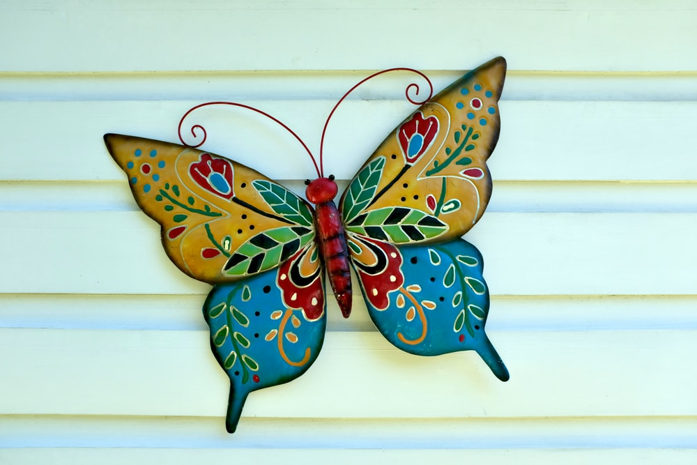 blue green and brown butterfly wall decor