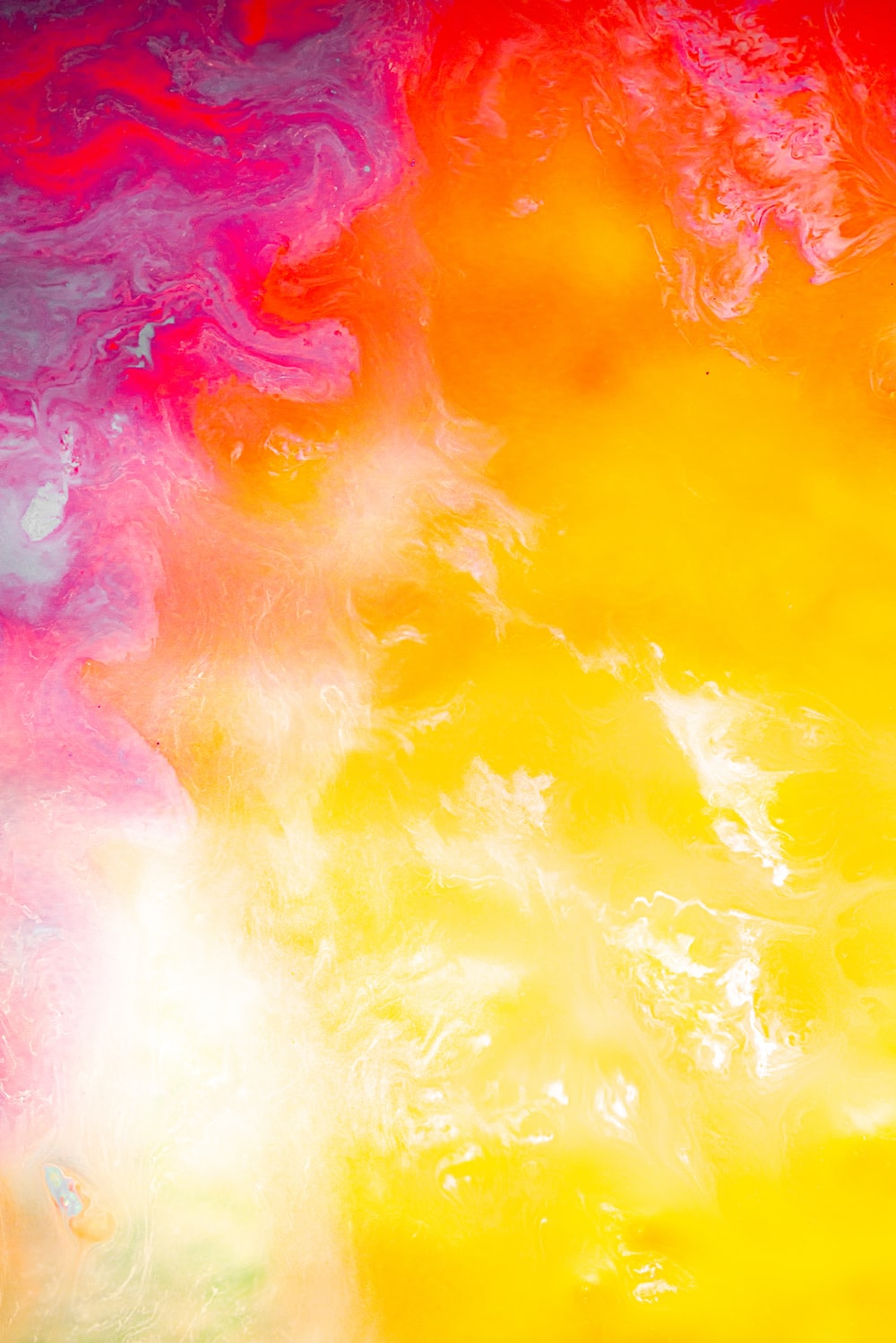 yellow pink and white abstract painting