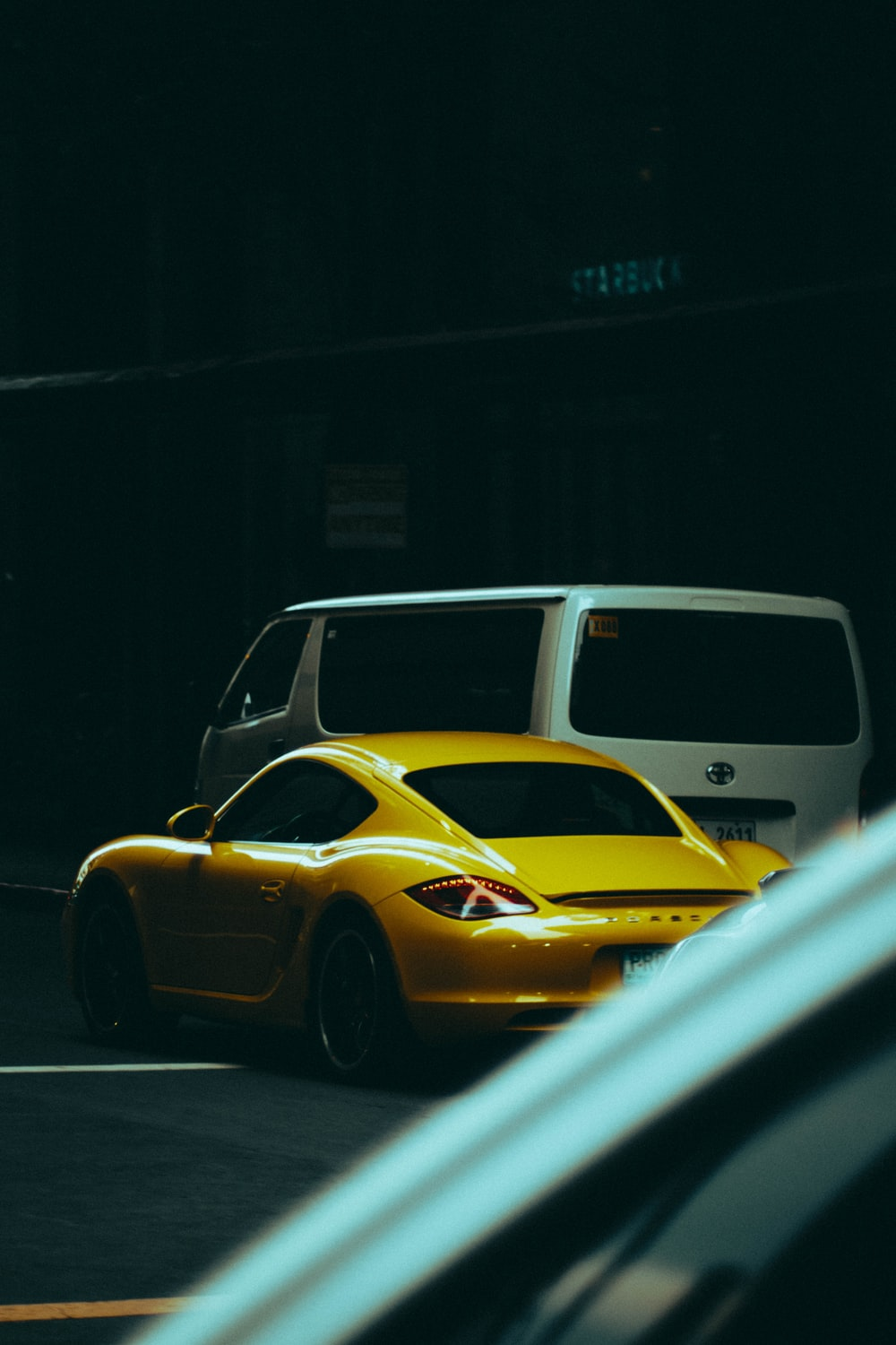 yellow and black classic car