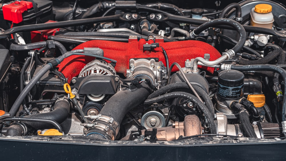 black and red engine bay