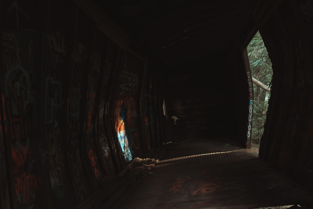 tunnel with light turned on during daytime