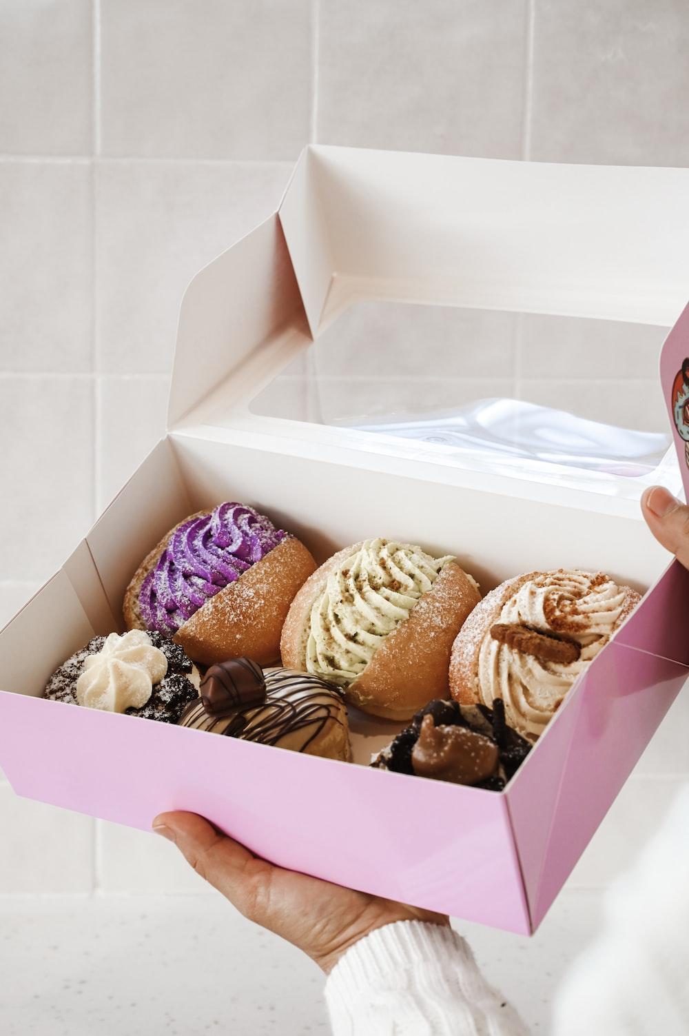 chocolate cupcakes in white box