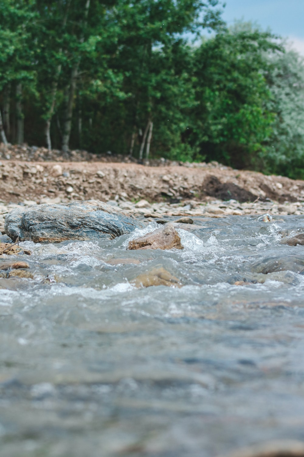 brown and white stones on river