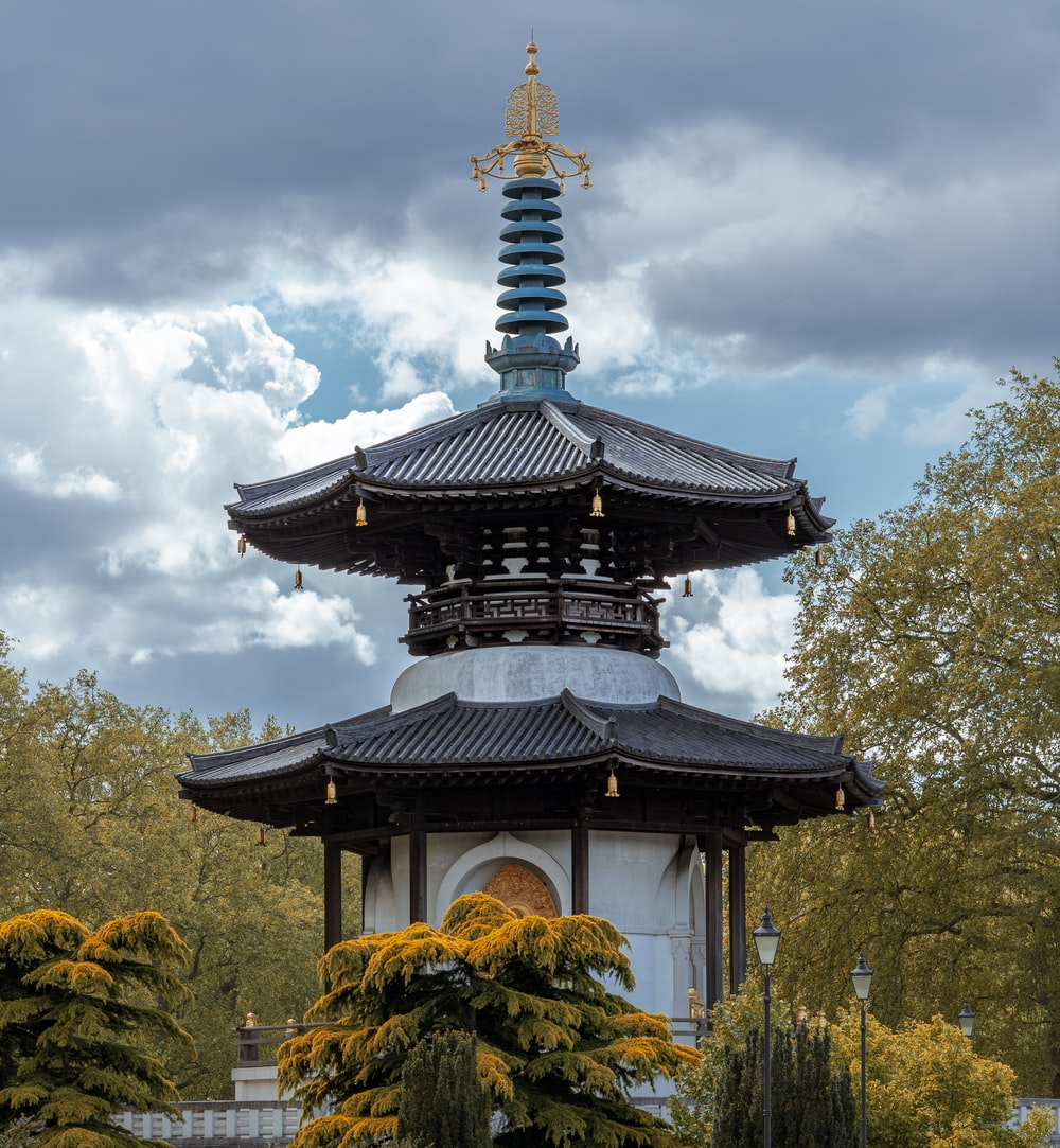 black and white temple under white clouds and blue sky during daytime