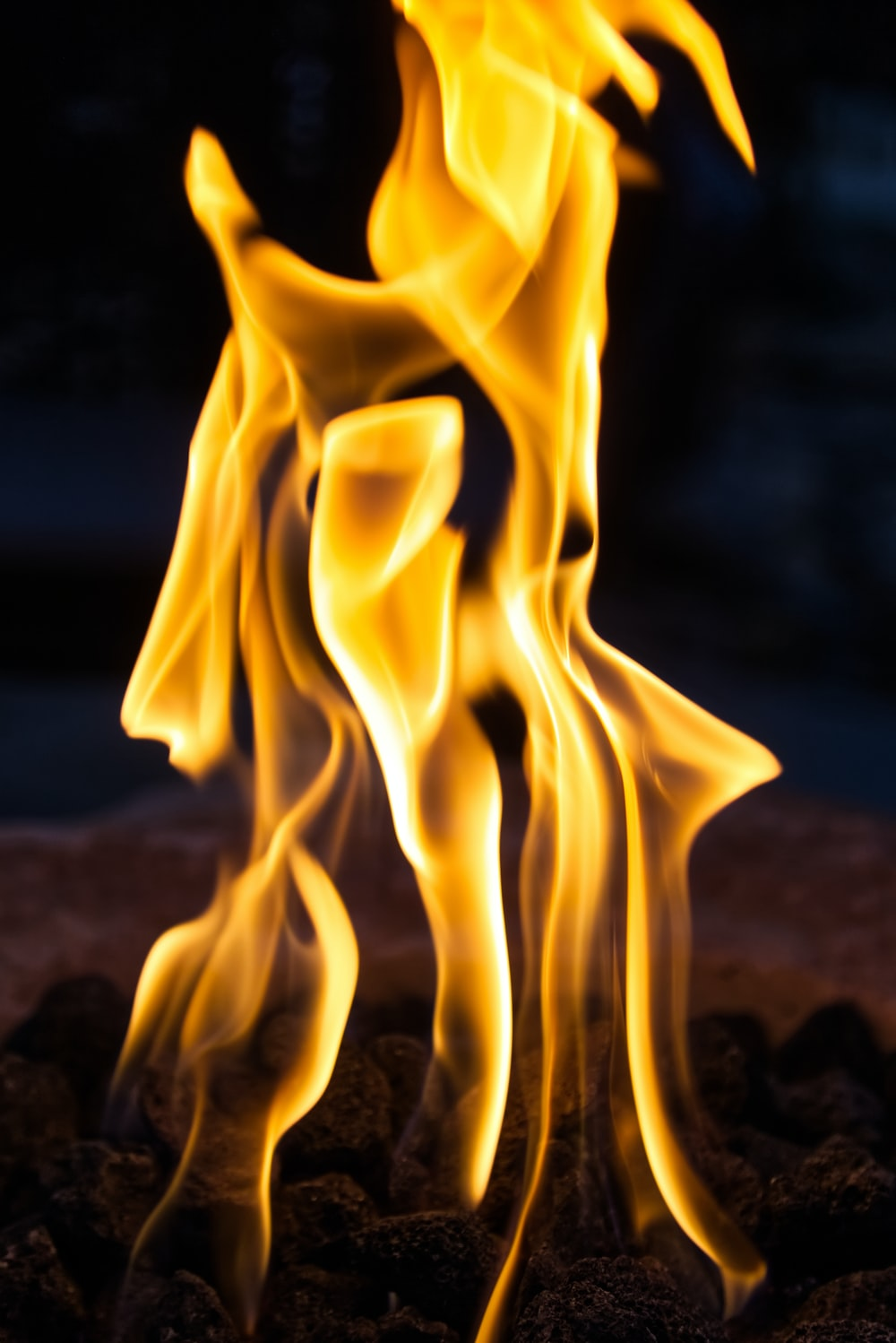 yellow fire in close up photography