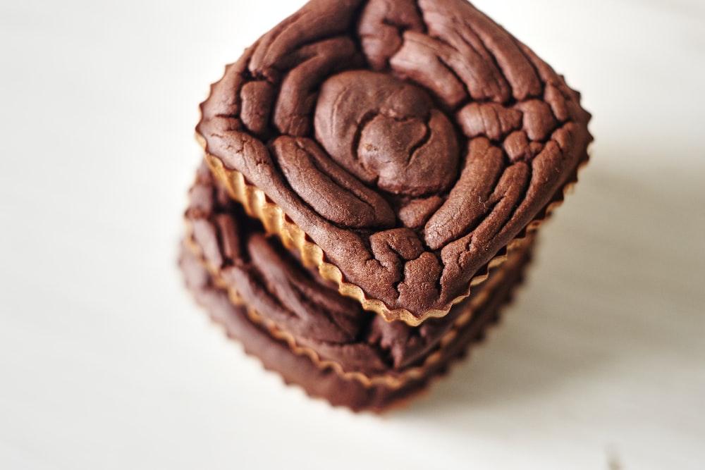 brown chocolate cupcake on white table