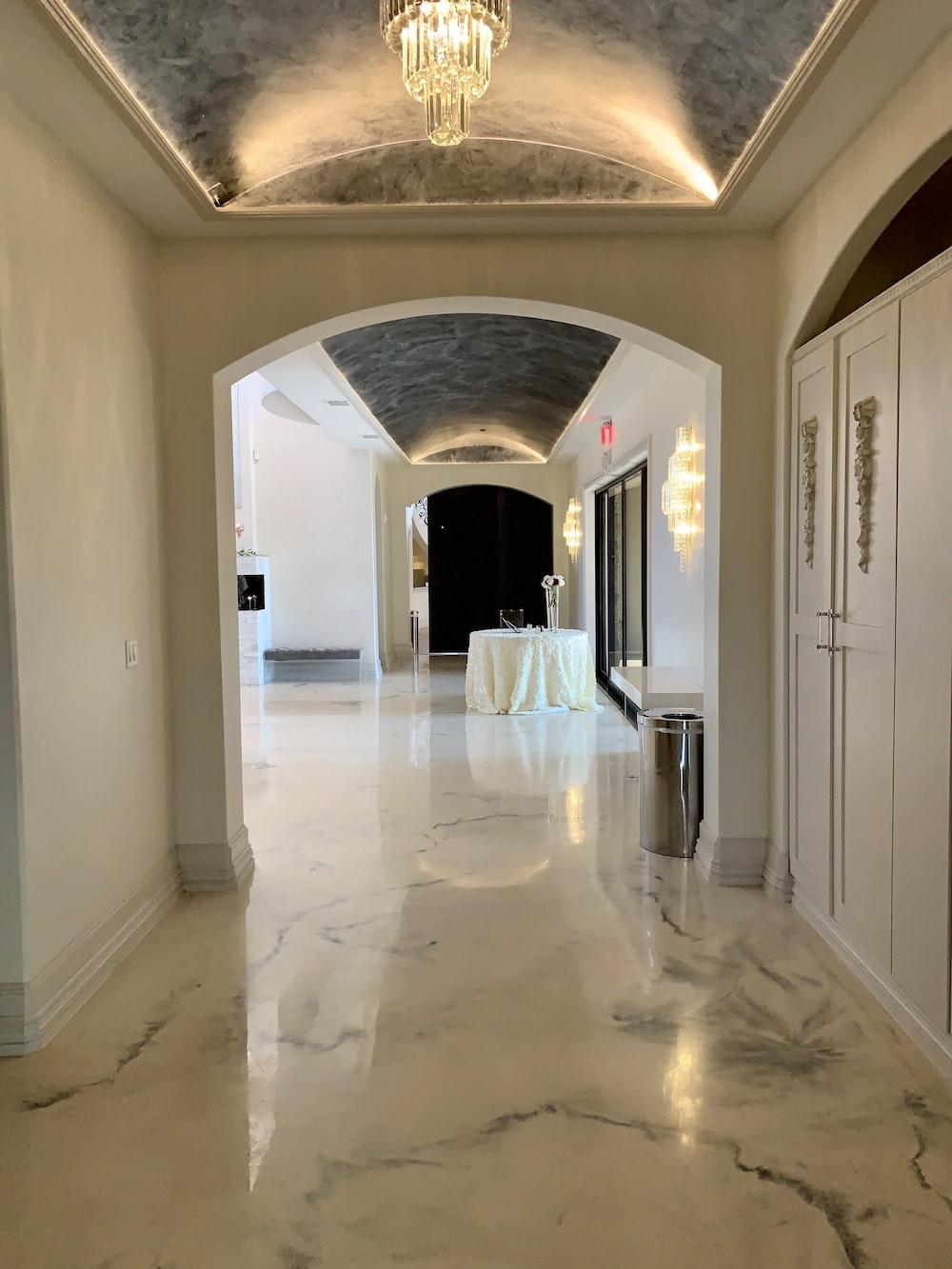 white hallway with white walls