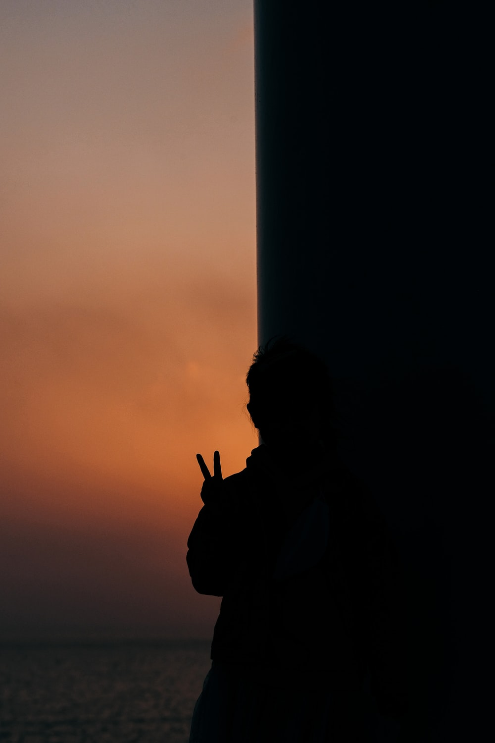 silhouette of man standing near white post during sunset